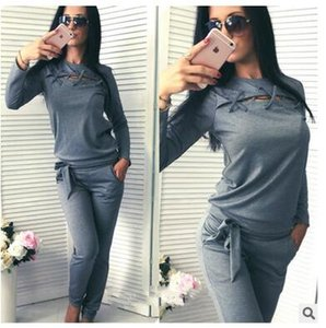 2018 nuevas mujeres americanas de manga larga suéter de dos piezas traje de ropa deportiva fabricantes al por mayor