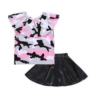 Trajes de bebés niñas camuflaje fuera del hombro top + PU faldas de cuero 2 unids / set 2018 trajes de verano Boutique niños Conjuntos de ropa C4088