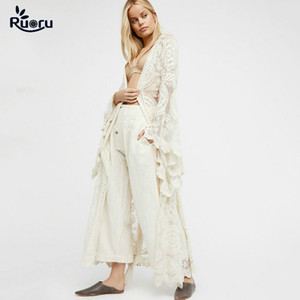 Ruoru Kimono Boho Summer Holiday Beach Cover Lace Tops Bell Sleeve Hollow Out Kimono Long See Though White Jacket