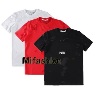 18ss Luxury Europe Paris Alta calidad Negro Blanco Big Broken Holes Camiseta Moda Hombres Mujeres Star Print Camiseta Casual Cotton Tee Top