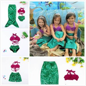 Summer Beach Baby Shell Mermaid Three-piece Split Sets Fish Scale Swimsuit Mermaid Princess Swimwears Kids Toddler Bikini 5 pcs a Lot