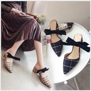 2018 primavera e verão nova manta Baotou meia chinelos femininos apontou sandálias e chinelos arco grosso com sapatos selvagens