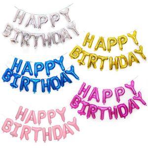 13pcs / set 16 인치 생일 축하 편지 Foil Balloons 장미 꽃잎 생일 축하 파티 용 골드 편지 풍선