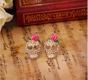 Pembe Gül İskelet Kulak Çiviler gül Rhinestone Kafatası Küpe Kadınlar için Damızlık Küpe kızlar Moda Takı