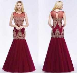 2018 recién llegado de diseño borgoña sirena vestidos de baile Sheer Neck Lace Appliqued Formal Evening Pageant Vestidos CPS879