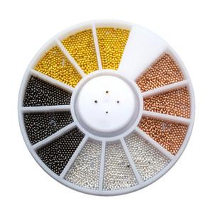 Multicolor 0.8mm Micro Beads Cuentas de acero inoxidable 3D Metal Caviar Strass Nail Art Decoraciones Studs In Wheel MJZ2081
