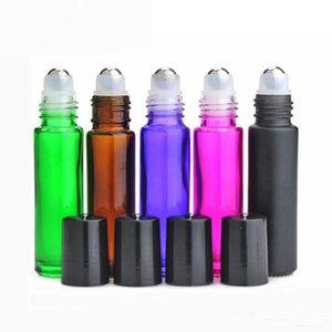 Зеленый Янтарный Фиолетовый Красный Черный 10 мл Толстые стеклянные роллерные бутылки с металлическим шариком Шариковые бутылки для эфирных масел с черной крышкой Бесплатная доставка