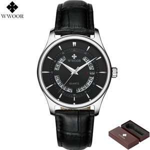 WWOOR Marca de Lujo Relojes de Los Hombres Impermeable Hollow Fecha Reloj de Cuero Masculino Reloj de Cuarzo Hombres Reloj Deportivo relogio masculino