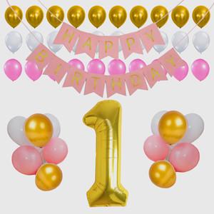 Fotografia de vinil pano de fundo feliz 1o aniversário fita balões aniversário Banner Kit decoração de festa para crianças bebê
