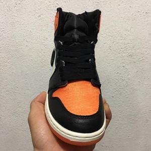 Yeni 1 OG Yüksek saten Paramparça Backboard erkekler basketbol ayakkabı eğitmenler spor turuncu siyah sneakers açık EN kaliteli boyutu 8-13