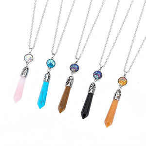 Moda Natural Stone esagonale prisma Drusy Druzy collane 5 colori Collana Mermaid Scala per le donne signora Jewelry