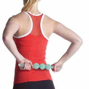 Tres bolas de erizo masaje Stick Motion Roller Yoga Bar Masaje y relajan los músculos estimulan la circulación de la sangre 20fm2 W