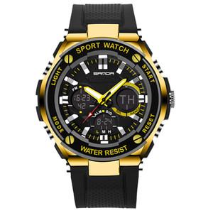 SANDA Mode Elektronische Uhr Luxus LED Digital militärische Sportklettern Armbanduhr Männer Silikonband wasserdicht Casual Watche