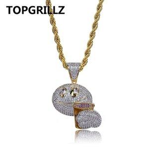 TOPGRILLZ хип-хоп Emoji лицо Кубок кубический Циркон кулон ожерелье медь биколор мужчины Шарм ювелирные изделия подарки с веревкой цепи