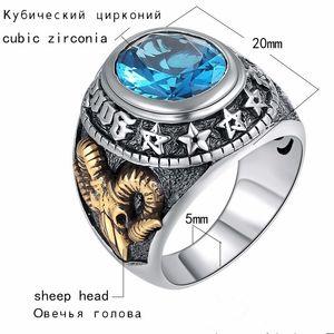 Blue Zircon Men Ring Vintage Stone Punk Rock Gold Sheep Head Thai Hecho a mano Mujeres Anillos Joyería de plata esterlina Retro Masonic Ring
