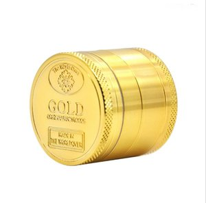 Gold Herb Grinder 40mm 4 piezas Abrader Alloy Smoke Metal Smoking Herbal Smoking Tobacco Grinders Cracker para herramientas de fumar