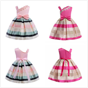 New Pearl Flower Robes Robes Simple Bretelles Rayé Robe Pour Enfants Sans Manches Taille Big Bow Sweet 2018 Enfants Filles Vêtements