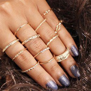 12 pcs / set Charme Or Couleur Midi Doigt Bague Set pour Femmes Vintage Boho Knuckle Bagues Fête Bijoux Punk Cadeau pour Fille