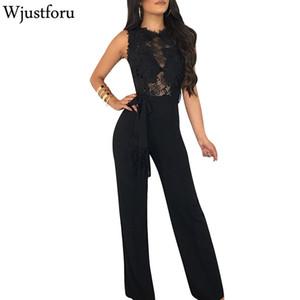 Wjustforu لون نقي عارضة الدانتيل أنيقة بذلة الموضة BODYCON واسعة الساق بذلة ضمادة منظور مثير الإناث