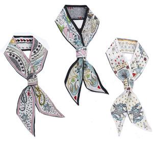Carte di tarocchi modello sciarpa di seta doppia stampa lato fascia in chiffon di raso per le donne estive borsa decorazione nastro Tilly 7 5kq BB