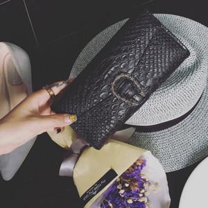 Nuevas mujeres billetera largas señoras carteras monedero moda mano embrague bolsos para mujeres modelo de cocodrilo PU billetera de cuero titular de la tarjeta bolsas