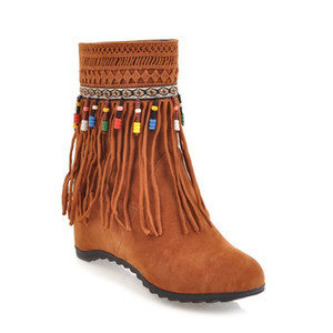 Chinese Nation Style Women Ankle Tassel Boots Flat Autumn Winter Short Boots Height Increasing Woman Flock Leather Large Size:34-43 ADF-8978