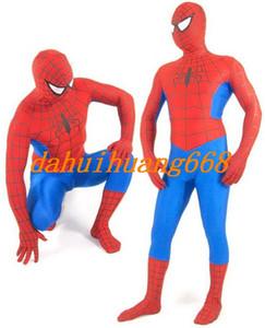 Kırmızı / Mavi Lycra Spandex Örümcek Adam Kahraman Suit Catsuit Kostümleri Unisex Örümcek-Adam Bodysuit Kostümleri Kıyafet Unisex Cadılar Bayramı Parti Kostümleri DH286