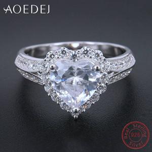 AOEDEJ Love Heart 925 Sier Bagues de femmes CZ cristal doigt de mariage Anneaux Femme Bague Femme Bijoux Argent Massif 925