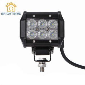 BRIGHTINWD 6000K LED 스포트라이트 작업 표시 줄 방수 IP67 18W 12V 오프로드 트럭 자동차 보트 조명 램프 12-32V를 반전