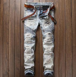 Vintage lavé Fashion Jeans Hommes Slim Jeans Pantalon droit déchiré détruit pantalon long
