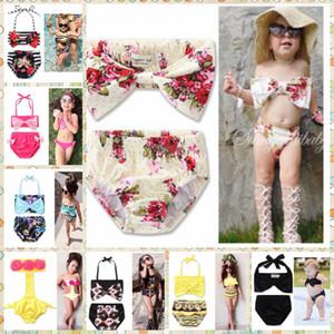 Baby Swimsuits Girl Floral Bikini Set Kids Cute Swimwear Child Bow Striped Bankini Baby Fashion Summer Bathing Suit Beachwear wqq1