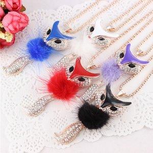 Acessórios de moda Requintado Cristal camisola cadeia Little fox Colar Pingente De Cinco Cores