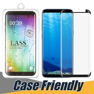 Tela caso amigável de vidro temperado Protector para S20 PLUS Nota 10 S10 5G S7 BORDA S9 Protector Film Cola na Tela Borda Protector com caixa