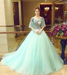 Vestido De Noiva 2018 Ball Gown Ice Blue Full Length Prom Dresses Vintage Scoop Flowers Long Formal Evening Gowns Celebrity Party Dress