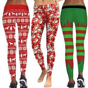 2018 Christmas Style Striped Printed Women Fitness Leggings Push Up Workout Leggings Elastic Female Sporting Leggins Pants