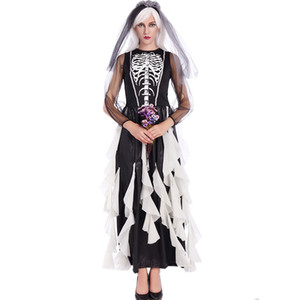 2017 Halloween Zombie Costume Cosplay Negro Corpse Bride Dress Adulto Femenino Fantasma Novia Cosplay Wear Scary Costumes W5389249