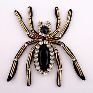 1 PZ 11 CM * 9 CM Handmade Stick Insetto Strass Patch Applique Per Abbigliamento Decorazione Sew on Beaded 3D Spider Patch Per Abbigliamento