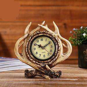 Yaratıcı Geyik Boynuz Tasarım Reçine Masa Saati-Amerikan Country Tarzı Eski Masa Masa Saati-Oturma Odası Ev Ofis dekor