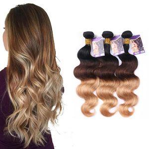 1B # / 4 # / 27 # Ombre Renk Brezilyalı İnsan Saç Dokuma 3 Paketler Vücut Dalga Saç Uzantıları 3 Adet / grup ve 100 g / Adet 12-26 Inç Uzunluk