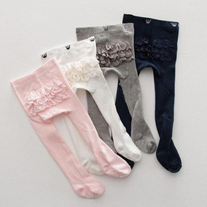 Baby Kids Girls Cotton Tights Solid Color Lace Long Stockings Slim Pants Baby Pantyhose PP Bottoms for Children Girls