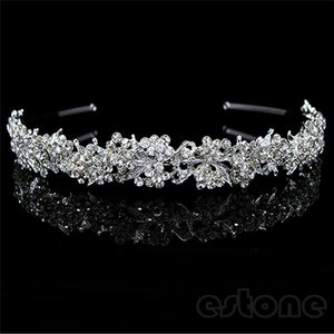 Moda nupcial boda accesorios para el cabello impresionante centelleo completo de cristal hoja de la boda nupcial niña de flores tiara diadema