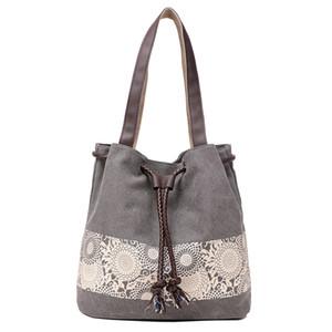 Neue Frauen Floral Leinwand Eimer Casual Umhängetasche Spanisch Strandtaschen Frauen String Shopping Handtaschen Spitze Druck Tasche