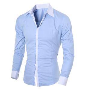 망 캐주얼 셔츠 솔리드 컬러 슬림 피트 긴팔 탑 블라우스 한국어 스타일 와일드 셔츠