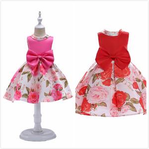 Le ragazze di estate si veste la stampa floreale sveglia vita grande arco patchwork colorato senza maniche in cotone per bambini vestito Big Princess Princess Dress 2-12 T Elegante