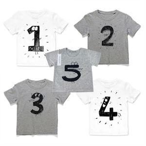 Baby Boys Girls INS 번호 T 셔츠 Children INS Cotton Cartoon 반팔 T 셔츠 아동복 흰색 및 회색 색상 0 ~ 10 세