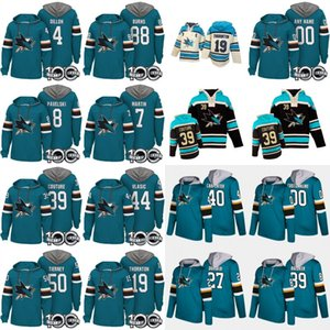 Hoodies San Jose Tubarões 100º Remendo 8 Joe Pavelski 19 Joe Thornton 39 Logan Couture 40 Ryan Carpinteiro 88 Brent Burns Custom Hockey Camisas