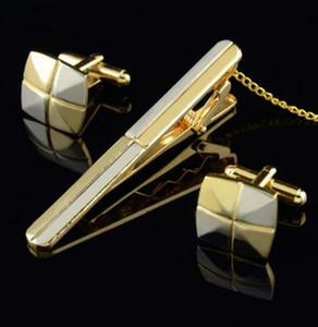 Золотые и серебряные двухцветные Twill Простые запонки для галстука для галстука Набор высококачественных запонок для галстука для бесплатной доставкой