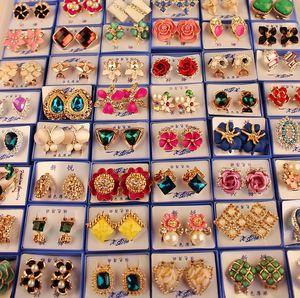 Zufällige Mix-Art 30paare / los mit Box Gold Edelstein Mode Ohrringe Großhandel Ohrringe Neue Modeschmuck Top Qualität HJ002