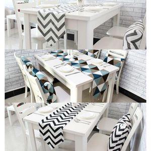 1 UNIDS Table Runners Geometric Wave Lattice Print Canvas Cotton Ribbon Rústico Decoración Del Hogar Mesa 30 * 180 cm