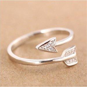 2020 New Arrival Moda banhado a prata Seta anéis de cristal para as mulheres anel de noivado ajustável mulheres de seta